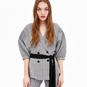 Zara Plaid Belted Double Breasted Blazer Jacket